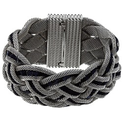 La Preciosa Silvertone Braided and Blue Velvet Cord Bracelet