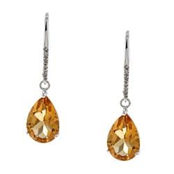 Viducci 10k Gold Citrine and 1/10ct TDW Diamond Earrings (G-H, I1-I2)