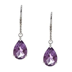 Viducci 10k White Gold Amethyst and Diamond Earrings