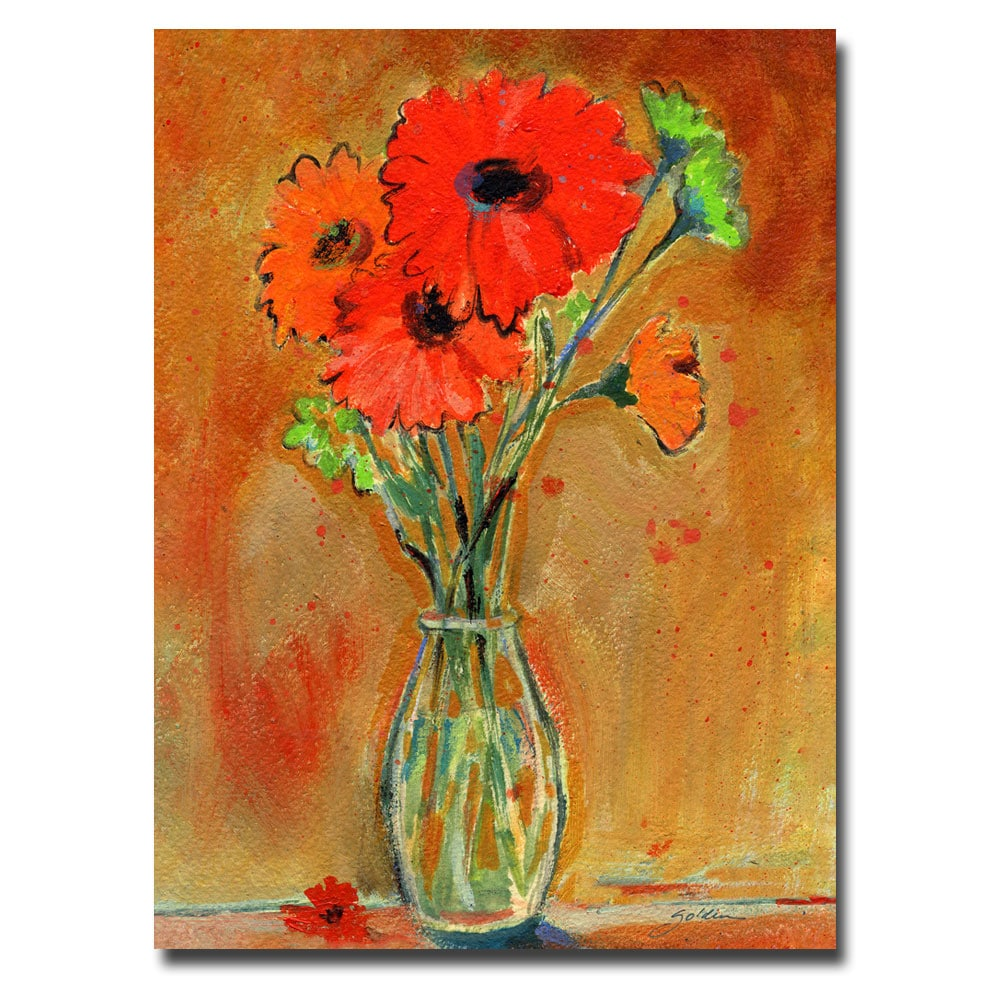 Sheila Golden 'Daisy Vase' Medium Canvas Art