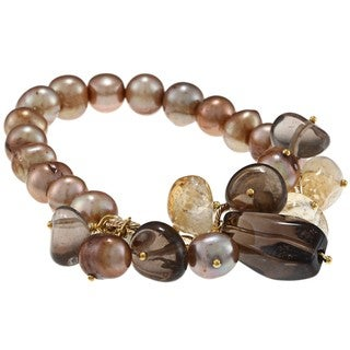 Miadora Goldtone Brown FW Pearl and Multi-colored Quartz Stretch Bracelet (9-10 mm)