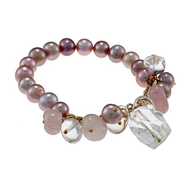 Miadora Goldtone Peach FW Pearl and Quartz Stretch Bracelet (9-10 mm)