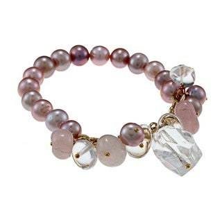 Miadora Goldtone Peach FW Pearl and Quartz Stretch Bracelet (9-10 mm)
