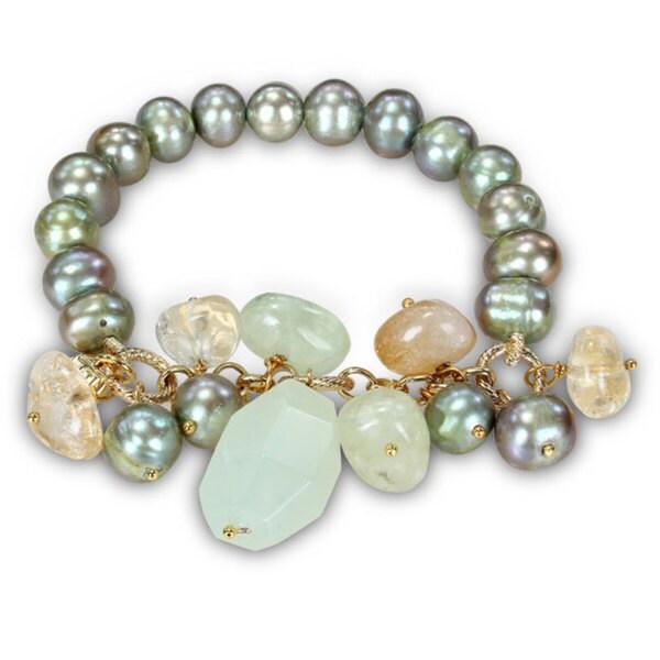Miadora Goldtone Pistachio Pearl and Agate Stretch Bracelet