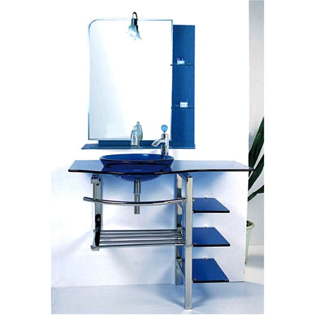 Kokols Modern Bathroom Vanity and Blue Vessel Sink Combo Set - Thumbnail 0