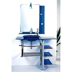 Kokols Modern Bathroom Vanity and Blue Vessel Sink Combo Set