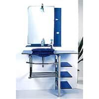 Kokols Modern Bathroom Vanity and Blue Vessel Sink Combo Set