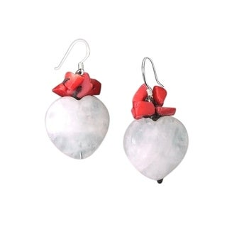 Handmade Sterling Silver Rose Quartz and Synthetic Coral Dangle Earrings (Thailand)