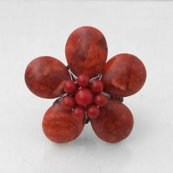 Handmade Red Coral Daisy Cotton Rope Ring (Thailand)