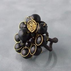 Goldtone Onyx Midnight Floral Ring - Thumbnail 1