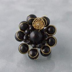 Goldtone Onyx Midnight Floral Ring