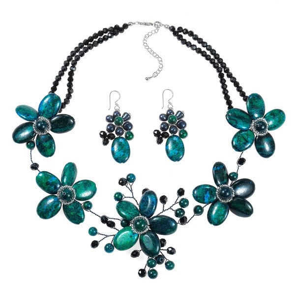 Handmade Floral Baroque Green-Blue Malachite Sterling Silver Jewelry Set (Thailand)