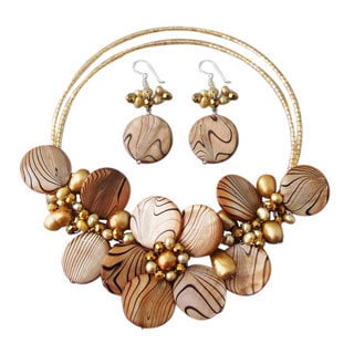 Brown Zebra Painted Mother-of-Pearl Floral Jewelry Set (Thailand)