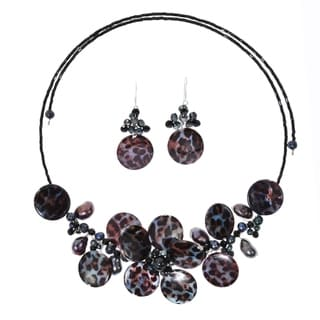 Sterling Silver Black Leopard Pearl Floral Jewelry Set (3-13 mm)(Thailand)