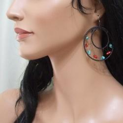 Handmade Sterling Silver Red Coral and Turquoise Mesh Hoop Earrings (Thailand)