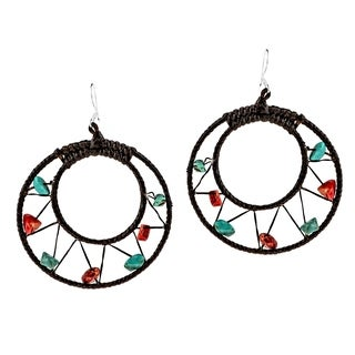 Synthetic Coral Turquoise Mesh Precious Moon 925 Silver Hoop Earrings