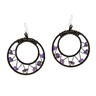 Handmade Sterling Silver Amethyst Mesh Hoop Earrings (Thailand)
