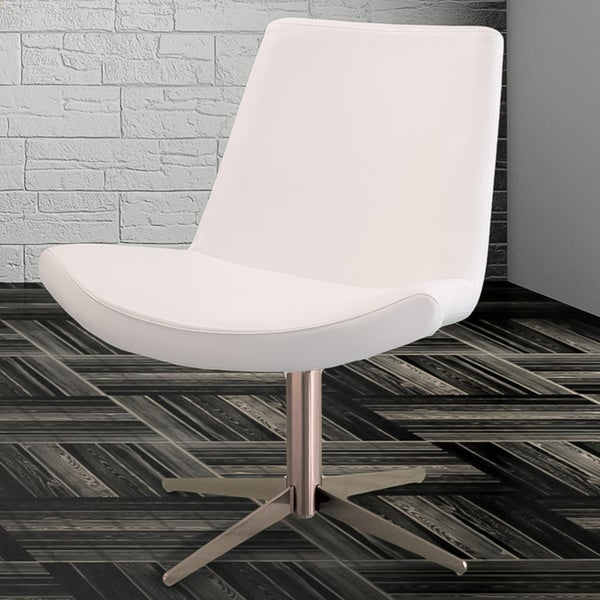 Modern White Leather Chair by Christopher Knight Home