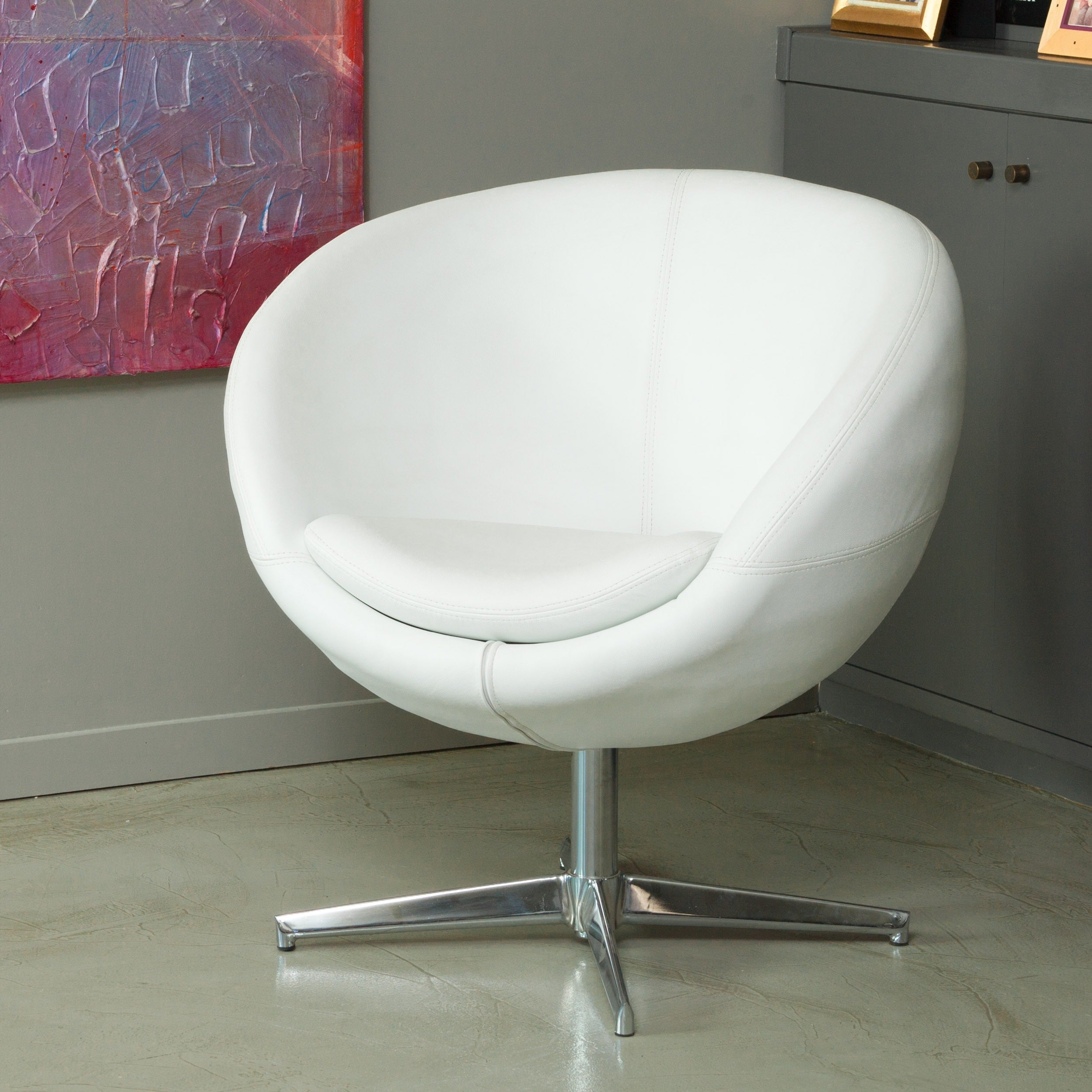 Peachy Christopher Knight Home Modern White Bonded Leather Roundback Chair Uwap Interior Chair Design Uwaporg