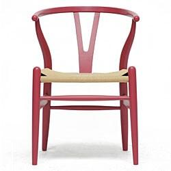 Mid-Century Modern Pink Wood Y Wishbone Chair