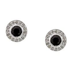 Viducci 10k Gold Blue Sapphire and 1/6ct TDW Diamond Earrings (G-H, I1-I2)