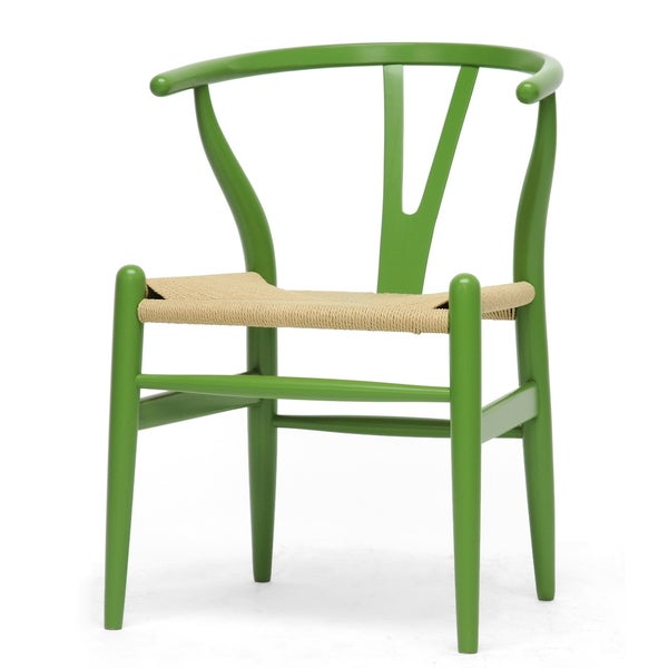 Baxton Studio Wishbone Modern Green Wood Dining Chair with Light Brown Hemp Seat