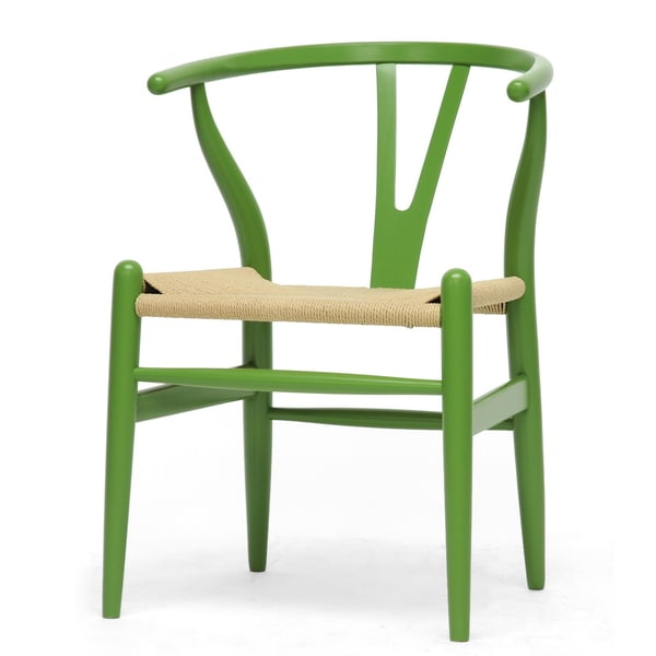 Baxton Studio Modern Green Wood Dining Chair with Light Brown Hemp Seat