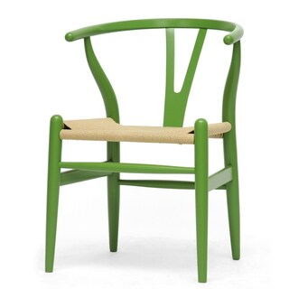 Baxton Studio Wishbone Modern Green Wood Dining Chair with Light Brown Hemp Seat