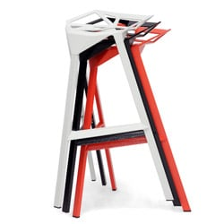 Kaysa Red Aluminum Modern Bar Mid-century Style Stools (Set of 2)
