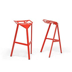 Modern Orange Metal Bar Stool by Baxton Studio