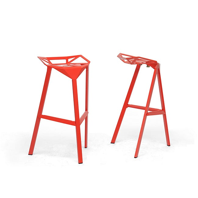 Modern Red Metal 32 Bar Stool By Baxton Studio Ebay