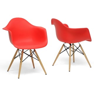 Pascal Red Plastic Mid-Century Modern Shell Chairs (Set of 2)