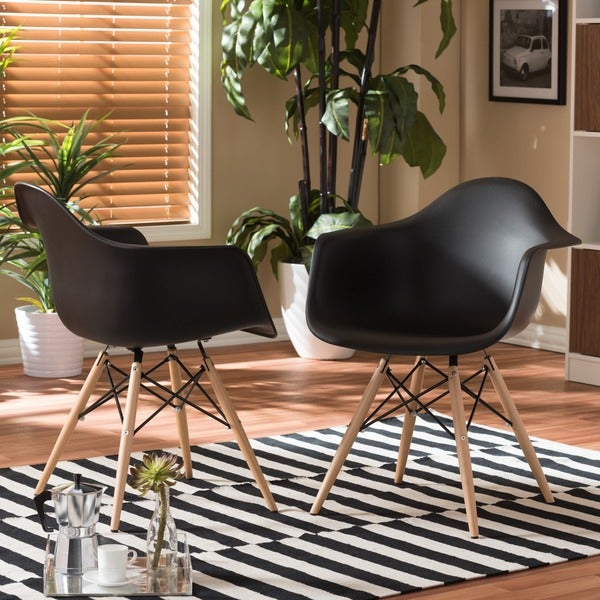 Pascal Black Plastic Mid-Century Modern Shell Chair (Set of 2). Opens flyout.