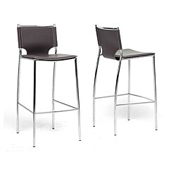 Montclare Brown Leather Modern Bar Stools (Set of 2)