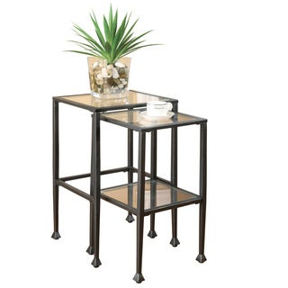 Carbon Loft Maggie Black Tempered Glass and Metal Nesting Tables (Set of 2)
