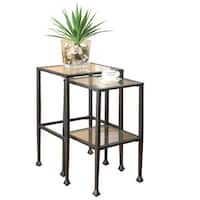 Clay Alder Home Lincoln Hwy Black Tempered Glass and Metal Nesting Tables (Set of 2)