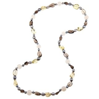 Miadora Valenza Multi-gemstone and Freshwater Pearl Necklace (6-8 mm)
