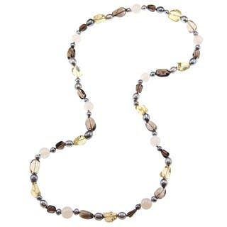 Miadora Valenza Multi-gemstone and Freshwater Pearl Necklace (6-8 mm)|https://ak1.ostkcdn.com/images/products/6445567/P14046613.jpg?impolicy=medium