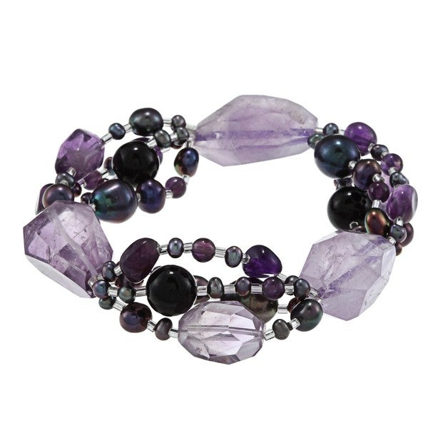 Miadora Agate, Amethyst and Black Freshwater Pearl Bracelet (3.5-9 mm)