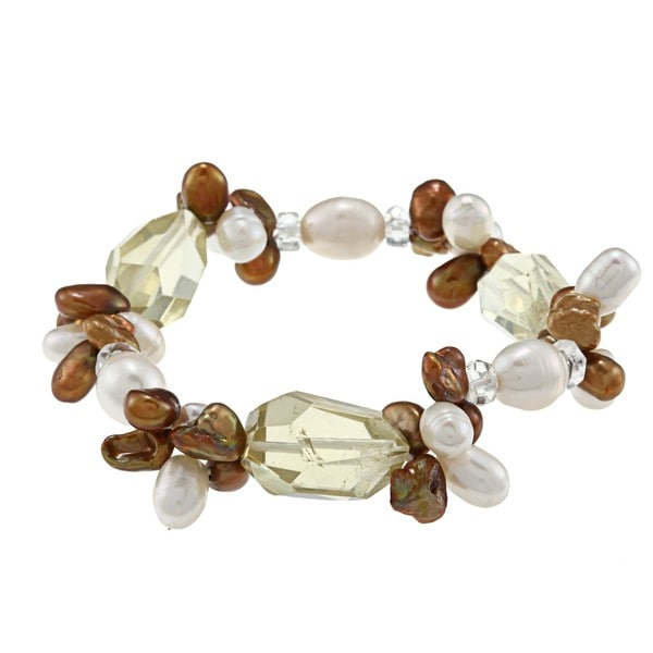 M by Miadora Valenza Lemon Quartz and Multi-colored FW Pearl Bracelet (4-9 mm)