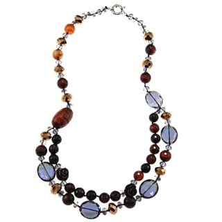 M by Miadora Valenza Brass 650ct TGW Red and Brown Agate and Crystal Strand Necklace