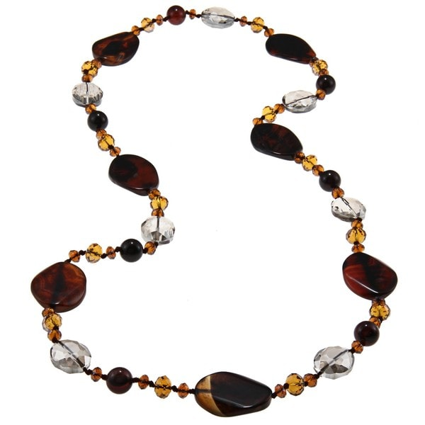 Miadora Valenza 700ct TGW Brown Agate and Crystal Bead Endless Necklace