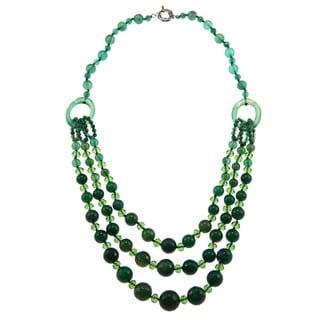 Miadora Valenza Brass 800ct TGW Dark Green Agate and Crystal Strand Necklace