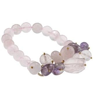 Miadora Brass Rose Quartz and Amethyst Bead Stretch Bracelet