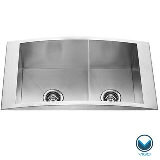 VIGO 36-inch Topmount Stainless Steel 12 Gauge Double Bowl Kitchen Sink
