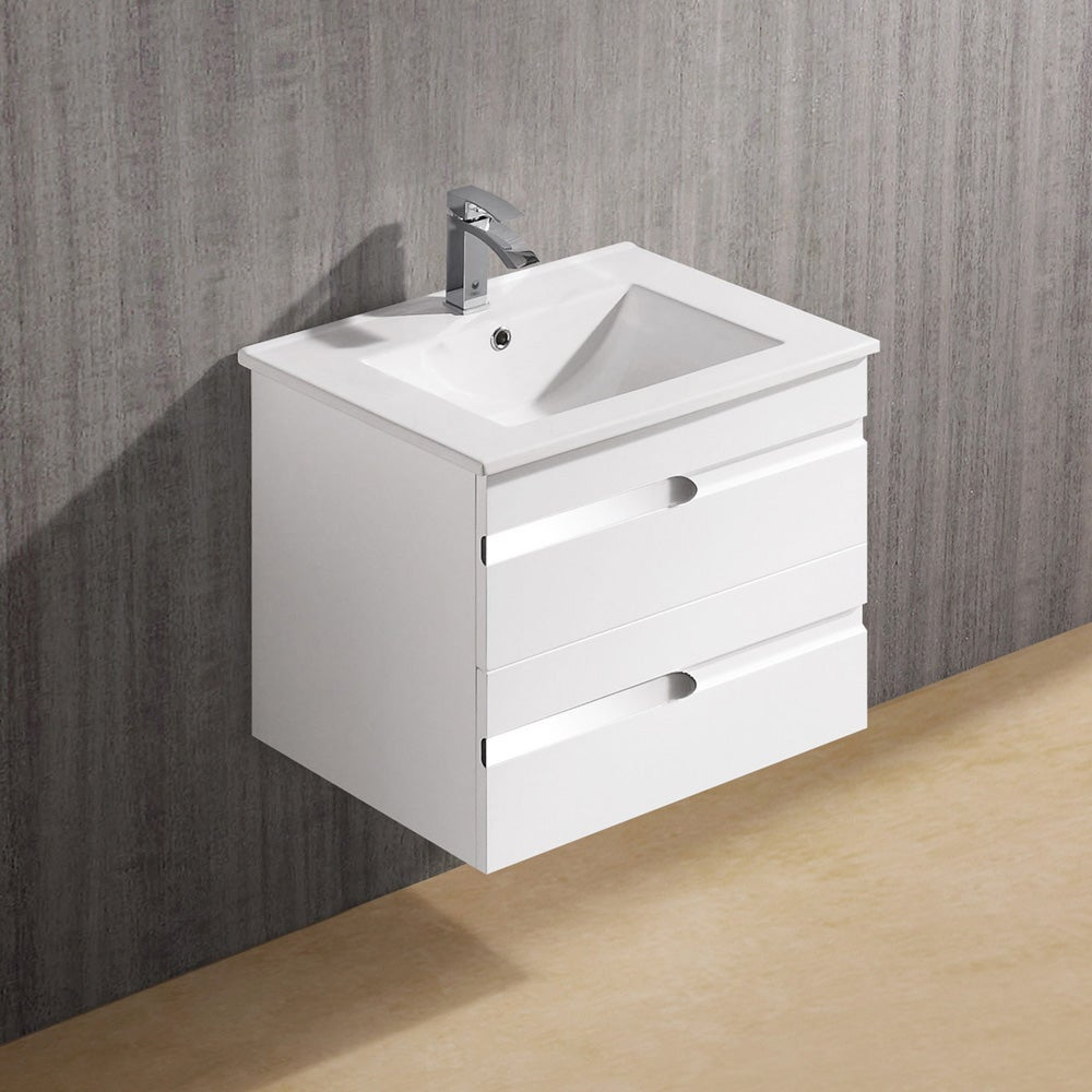 Vigo 24 Inch Ethereal Duece Single Bathroom Vanity White
