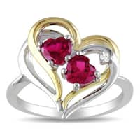 Miadora Two-tone Silver Created Ruby and Diamond Accent Ring (1 1/5ct TGW) - Pink