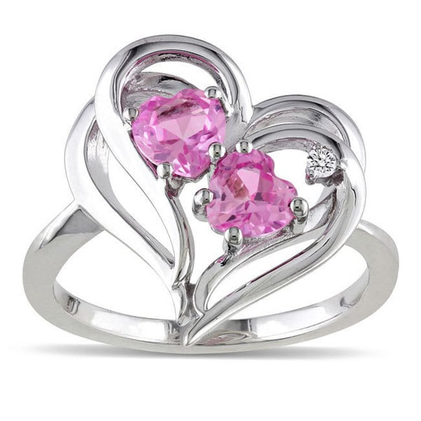 Miadora Sterling Silver Created Pink Sapphire and Diamond Accent Ring (1 1/5ct TGW)