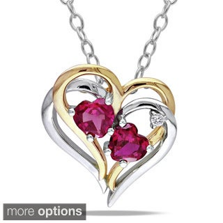 Miadora Sterling Silver Created Gemstone and Diamond Accent Double Heart Necklace (G-H, I2-I3) (Option: Sapphire)