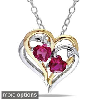 Miadora Sterling Silver Created Gemstone and Diamond Accent Double Heart Necklace (G-H, I2-I3) https://ak1.ostkcdn.com/images/products/6445635/P14046661.jpg?impolicy=medium